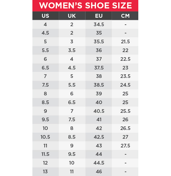 Saucony Size Chart Women